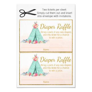 Boho TeePee Diaper Raffle Tickets Card