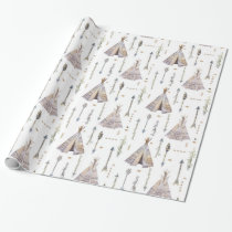 Boho Teepee Tents and Tribal Arrows Patterned Wrapping Paper