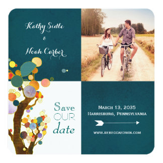 Boho Trees Teal Wedding Photo Save the Date Card