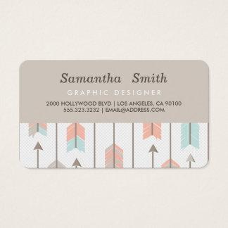 Boho Tribal Arrows Professional Pink Blue Grey Business Card