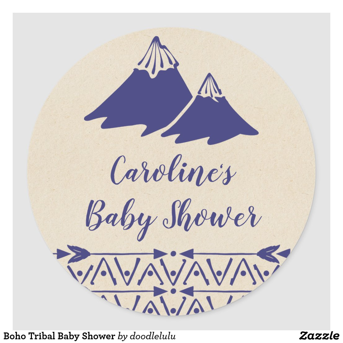 Boho Tribal Baby Shower Classic Round Sticker