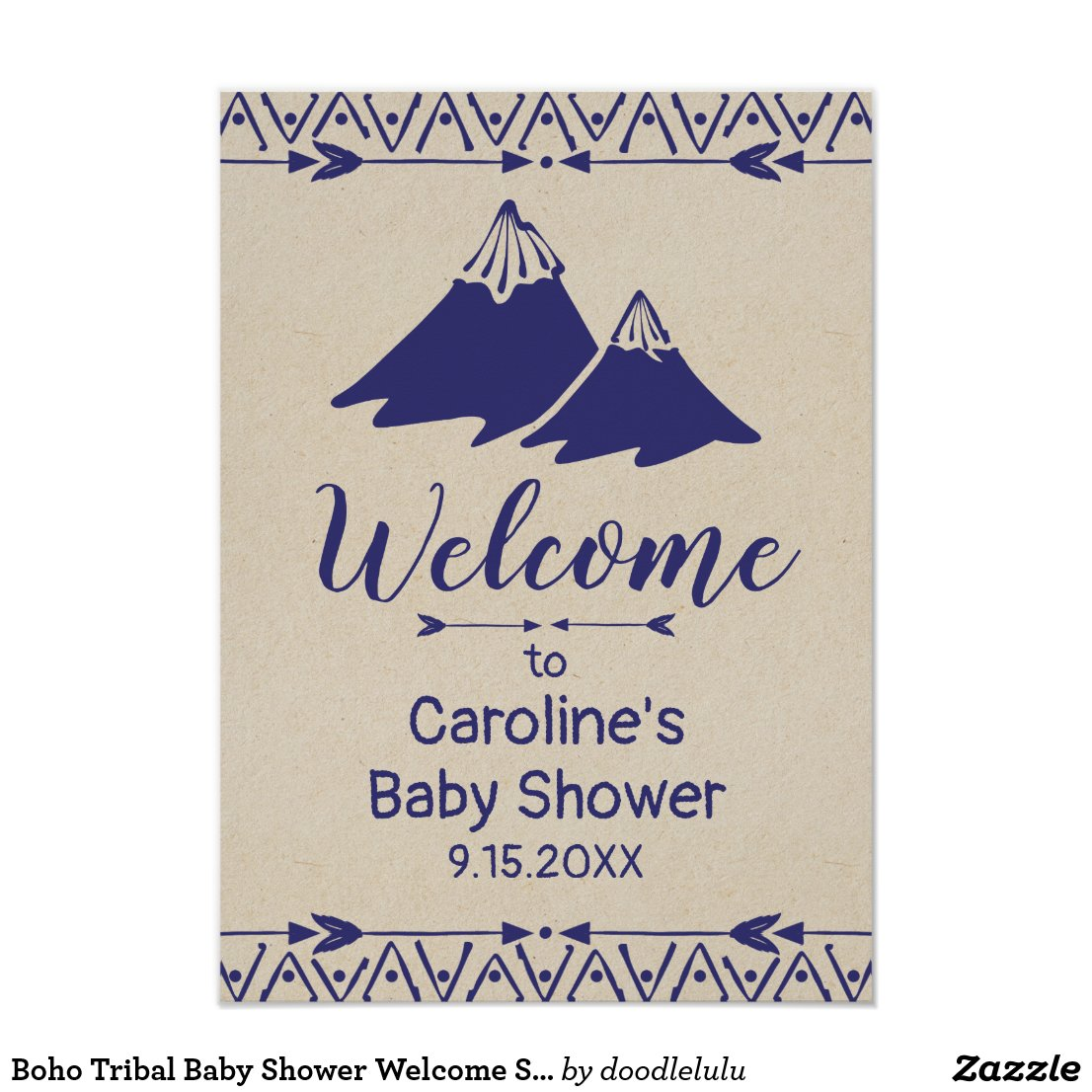 Boho Tribal Baby Shower Welcome Sign