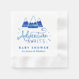 Boho Tribal Blue Adventure Baby Shower Napkins
