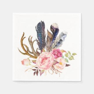 Boho Tribal Chic Feathers and Roses Napkin