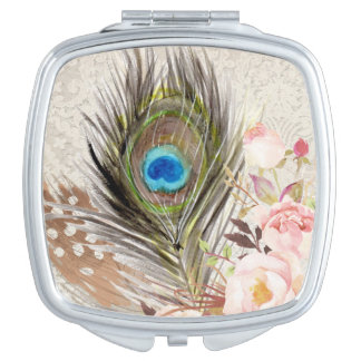 Boho Tribal Chic Peacock Feather Compact Mirror