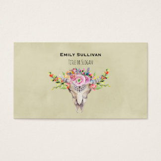 Boho Tribal Cow Skull With Stylish Floral Design Business Card