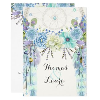 Boho Tribal Dream Catcher Watercolor Turquoise Invitation