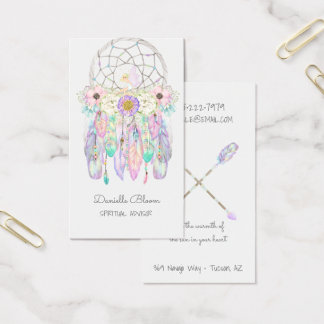 Boho Tribal Fairy Dream Catcher Arrows Feathers Business Card