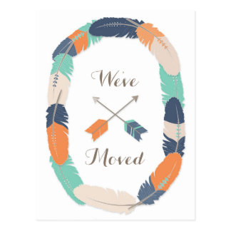 Boho Tribal Feather and Arrow Change Of Address Postcard