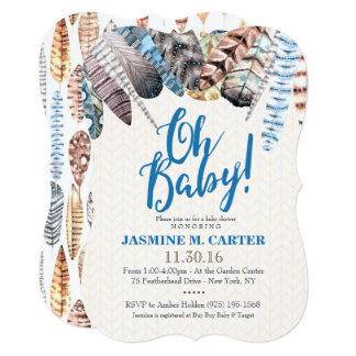 Boho Tribal Feathers Watercolor   Baby Shower Boy Card