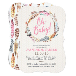 Boho Tribal Feathers Watercolor | Baby Shower Card