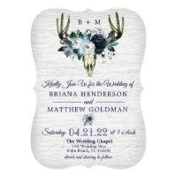 Boho Tribal Floral Antlers Wedding Invitation Navy