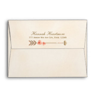 Boho Tribal Heart and Arrow Rose Envelope