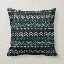 Boho Tribal Pattern Turquoise Black Throw Pillow
