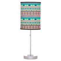 Boho Tribal Southwest Turquoise Geometric Pattern Desk Lamp