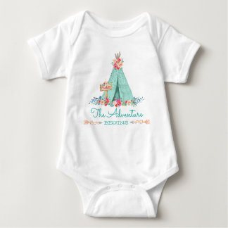 Boho Tribal TeePee Adventure Begins Baby Girl Baby Bodysuit