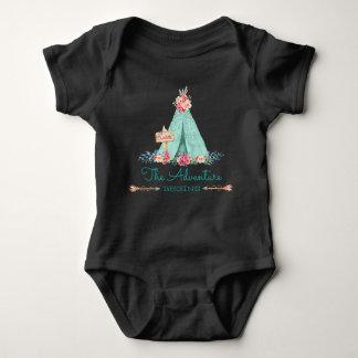 Boho Tribal TeePee Adventure Begins Baby Girl Baby Bodysuit