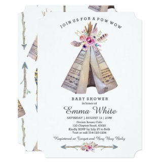 Boho Tribal Teepee Floral Baby Shower Card