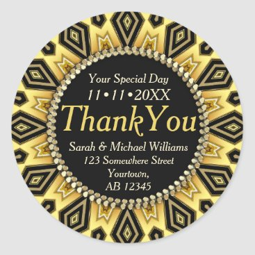 Aztec Themed Boho Tribe Black Yellow Aztec Thank You Stickers