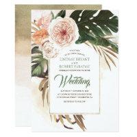 Boho Tropical Floral Desert Wedding Invitation