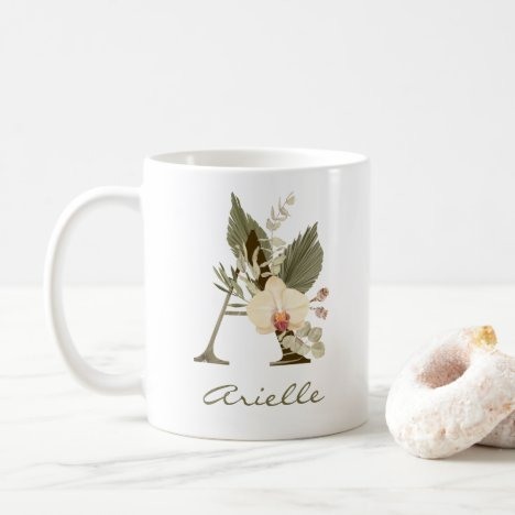 Boho Tropical Foliage Custom Monogram Name Coffee Mug