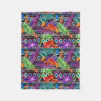 BoHo Tropical Tribal Florals Fleece Blanket