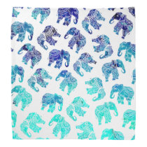 Boho turquoise blue ombre watercolor elephants bandana