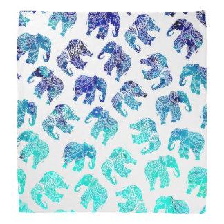 Boho turquoise blue ombre watercolor elephants bandana