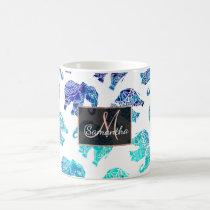 Boho turquoise blue ombre watercolor elephants coffee mug