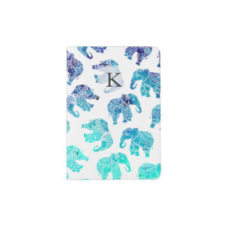 Boho turquoise blue ombre watercolor elephants passport holder
