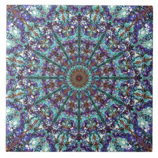 Boho turquoise mandala laced pattern tile