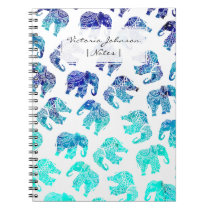 Boho turquoise mandala watercolor elephants notebook