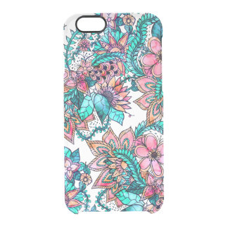 Boho turquoise pink floral watercolor illustration clear iPhone 6/6S case