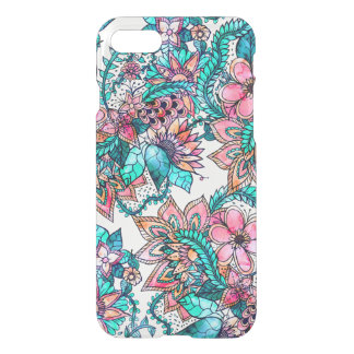 Boho turquoise pink floral watercolor illustration iPhone 7 case