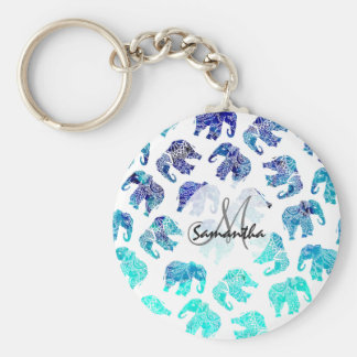 Boho turquoise watercolor elephants illustration keychain