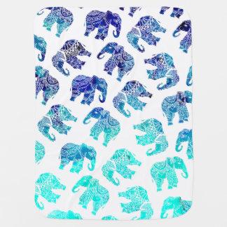 Boho turquoise watercolor elephants illustration swaddle blanket