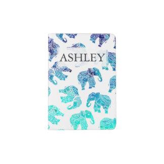 Boho turquoise watercolor elephants monogram passport holder