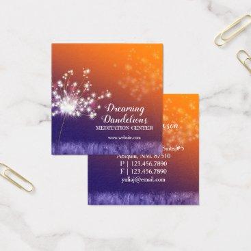 Professional Business Boho Twilight Dandelions Meditation Center Square Business Card