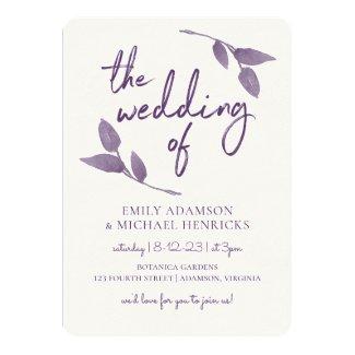 Boho Vines Wedding Invitation | Plum / Purple