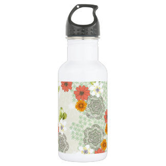 Boho Vintage Flowers Stainless Steel Water Bottle