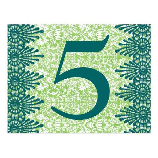 Boho Vintage Green Damask Table Number Card Post Cards