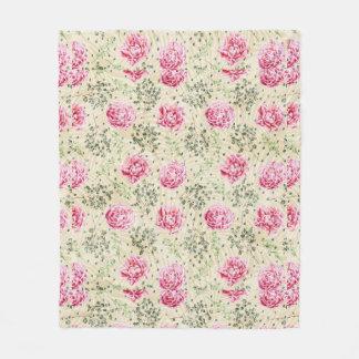 Boho vintage pink green tropical floral polka dots fleece blanket