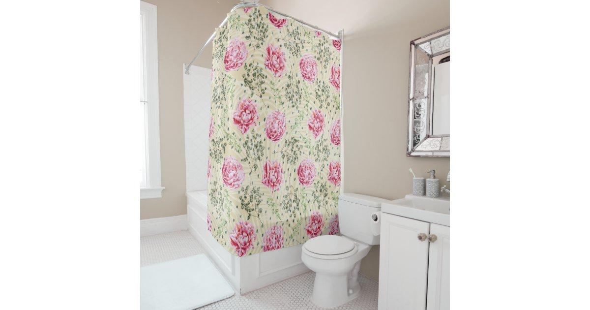 Boho Vintage Pink Green Tropical Floral Polka Dots Shower Curtain