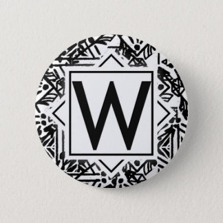 Boho W Monogram Button