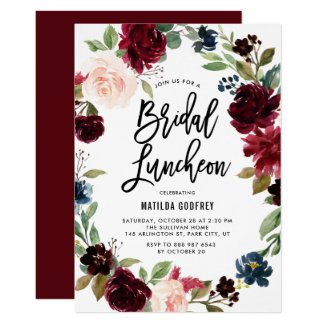 Boho Watercolor Autumn Floral Bridal Luncheon Invitation