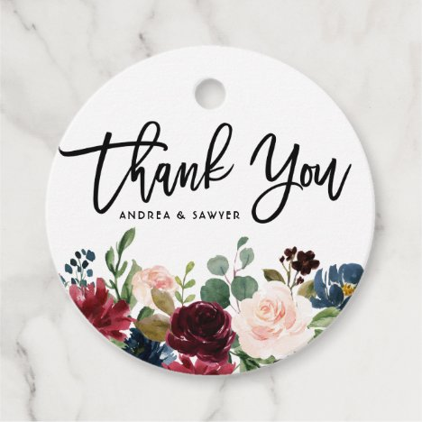 Boho Watercolor Autumn Floral Garland Thank You Favor Tags