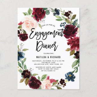 Boho Watercolor Autumn Wreath Engagement Dinner Invitation Postcard
