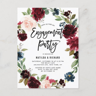 Boho Watercolor Autumn Wreath Engagement Party Invitation Postcard