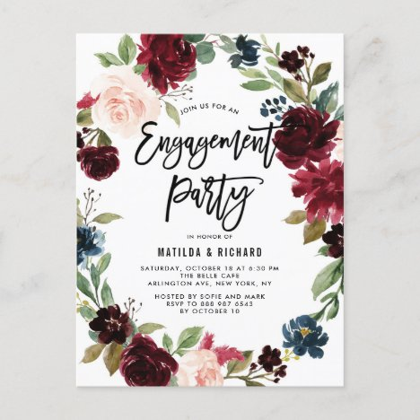 Boho Watercolor Autumn Wreath Engagement Party Invitation Postcard