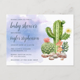 0eb50ff6f5956 Boho Watercolor Cactus Baby Shower Invitation Postcard